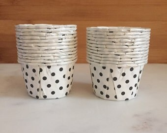 MINI White Polka Dot Nut Cups, Small Sized, Nut Cups (24)