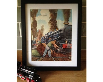 Train turntable scene from All About Trains - vintage 1951 train themed framed illustration - retro, bedroom, decoration, print