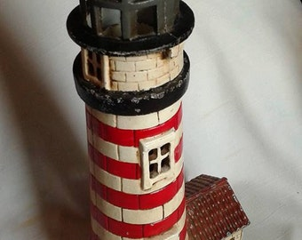 "16"" Tall Painted Cast Iron Lighthouse Candle Holder"