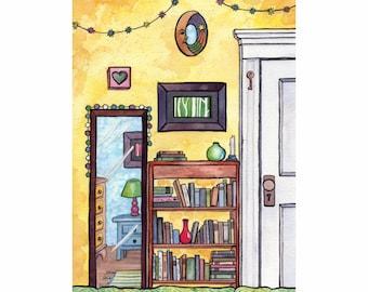 Interior painting, Whimsical art, Still life painting, Original illustration, Yellow bedroom, Watercolor painting, Whimsical illustration