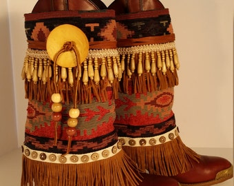 Size 7 B Upcycled Vintage Bohemian Capezio Women's Boots with Removable Boot Rugs