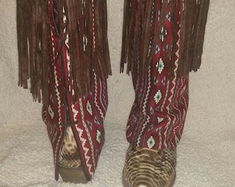 Boot Blankets-Maroon aztec with fringe