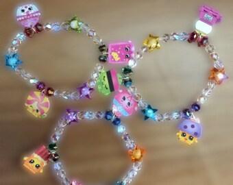 Shopkins fire polished glass bead bracelets