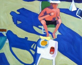 Man In Beach Chair, Cape Cod, beach, summer, oil painting, figurative, landscape, shadows, contemporary realism, original painting