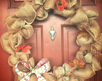 Burlap Fall Wreath; with optional personalization