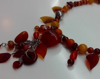 Statement bead necklace, orange bead necklace, handmade bead necklace, orange bead lariat, statement bead lariat, orange lariat, bead lariat