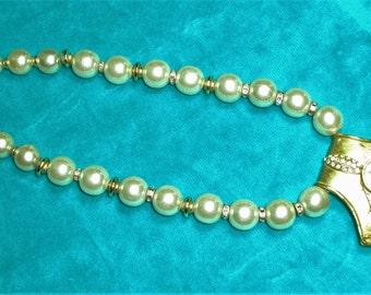 Vintage Italian Sonia chunky pearl and rhinestone choker