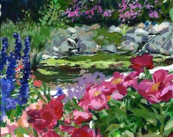 "Garden Pool, Schreiner's Iris Garden, 8"" x 10"" acrylic painting, unframed"