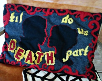 Wool and sawdust -'til death do us part pillow