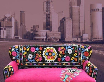 Pink suzani sofa with patch work