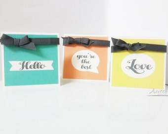 Mini note cards, Just because, Hello, Love, Greeting, Thank You, Gifts  set of 5 cards
