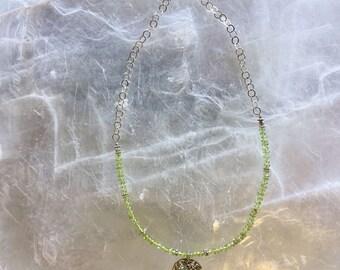Peridot Tree of Life Necklace, Peridot Tree of Life Choker, Green Peridot Necklace, Peridot and Sterling Tree of Life Necklace, #JS012
