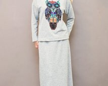 Homewear, 2 piece grey homewear, Sweater with owl, Long sleeve jumper, Sweatshirt with owl, Maxi skirt, Organic cotton homewear, Pajama set