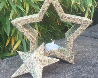 Christmas Star with Mini Holly Decoupage