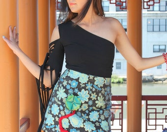 SAMPLE SALE!! Green Floral Brocade A-line Wearable Art Skirt with attached 3D Flower