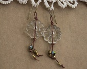 Vintage glass flower beads chandelier Earrings Boho Vintage Chic Gypsy Hippie
