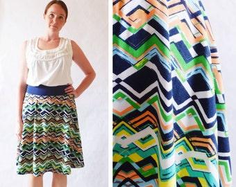 Made to Order Women's Skirt Zig Zag print Market Skirt Full Aline Skirt stretch Cotton Jersey Swing Skirt knee length twirl skirt