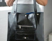 Chic Black vegan Tote bag -  fits 15 in laptop