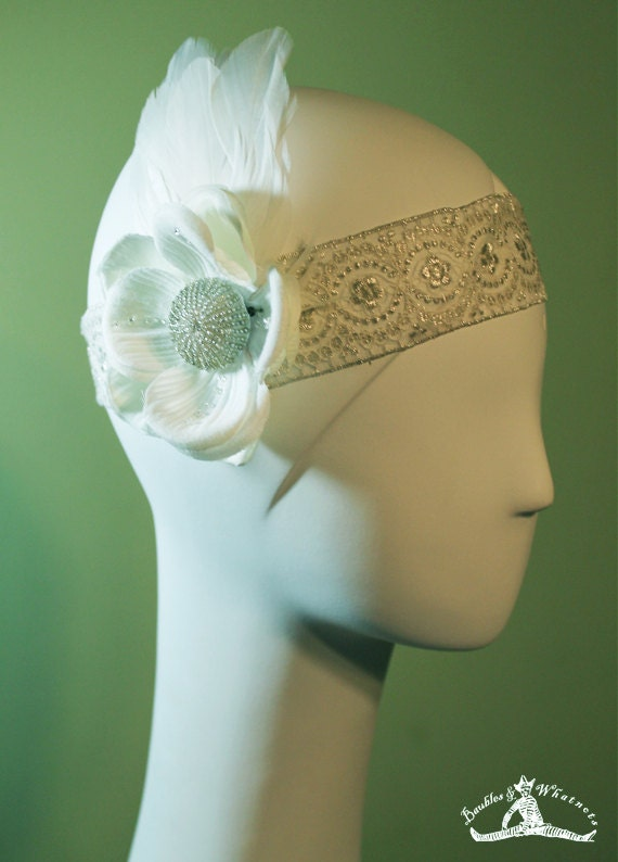 1920s Style White / Cream Colored Headband - Vintage Inspired - Flapper Headband - Bridal - OOAK
