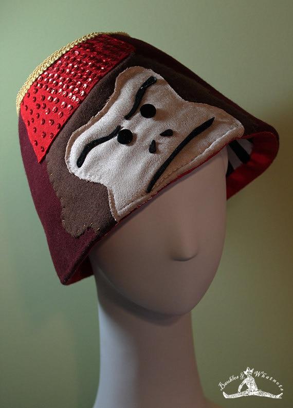 Unisex Wool Monkey Fez Hat - Novelty Fez Hat - Handmade Fez Hat - OOAK