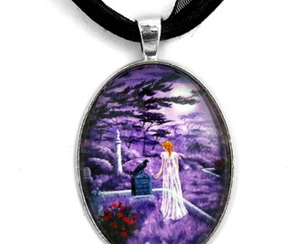 Edgar Allan Poe Jewelry Supernatural Necklace Raven Pendant Ghost Woman Lenore Lavender Purple Moon Cemetery Crow Red Roses Gothic Dark Art