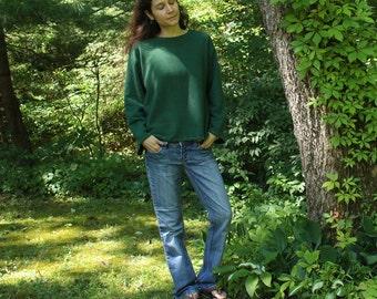 organic hemp sweatshirt - size large - 100% hemp and organic cotton - hand dyed deep green - one of a kind - size medium to large