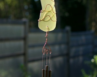 Wind Chime Sun Catcher Sea Glass Copper With Brass Chimes, beach glass, stained glass