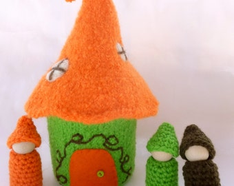 Gnome house Felted Wool Gnome Home peg dolls ready to ship