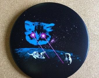 Giant 3.5 Inch Cat Magnet - Laser Cat, Fridge Magnet, Refrigerator Magnets, Space Cat, Laser Beam Space Cat, Cat Gifts