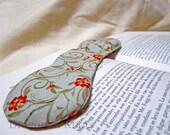 Sage Green Book Weight - Red Orange Flowers - Weighted Bookmark