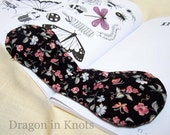 Butterfly Book Weight -  Floral Black Vintage Fabric