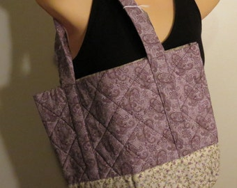 Quilted Tote Bag Cotton Floral Lavender Purple Cream