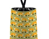 Car Trash Bag // Auto Trash Bag // Car Accessories // Car Litter Bag // Car Garbage Bag - Red Fox - Light Olive Green orange