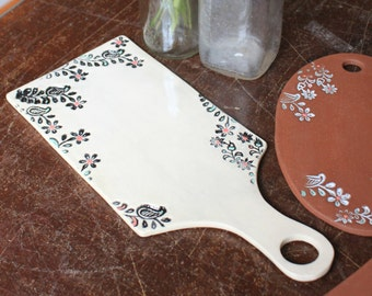 Floral Impressed Cheese Board by Ceramic Artist Tasha McKelvey