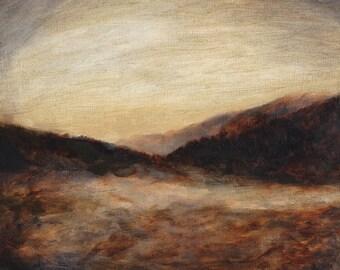 Landscape painting Dusk - art print of original oil landscape painting tonalist art