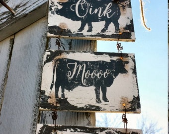 KITCHEN SIGNS, Farm House Signs, Pig, Cow, Rooster, Kitchen Decor, Farm Animals, Rustic Signs, Chalk Board, Reversible