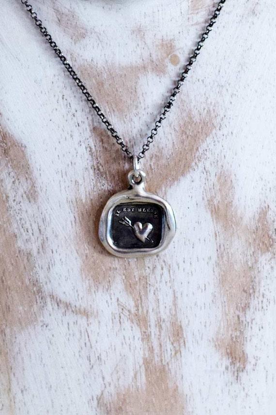 Love Hurts Heart Necklace - Arrow Pierced Heart Wax Seal Pendant - Wax Seal Jewelry - 220