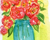 ACEO original watercolor painting, Cabbage Roses, aqua canning jar, art card, small floral rose painting, flower painting