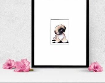Matted ORIGINAL Art Drawing Pekingese Dog ACEO