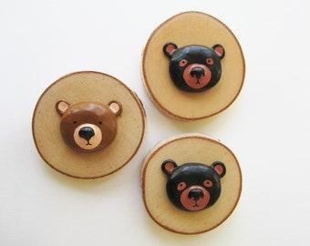 Tiny Clay Bear Wood Wall Plaque
