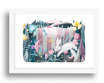 Circus Cats art Print - Illustration drawing cats acrobats cat nursery art  A4 / A3 / A5 / 8 x 10 giclee print