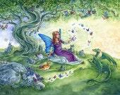 Fairy tale art print, Tree, butterflies, tabby cat, fairy and cat, dragon, fantasy print, fairy tea party, 8x10