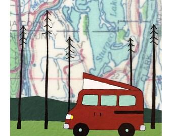 Multnomah Map Print // Camper Art // Travel Art // Trailer Art // Pop Up Van // Camping Art // Modern Decor // Rachel Austin Art 11x14