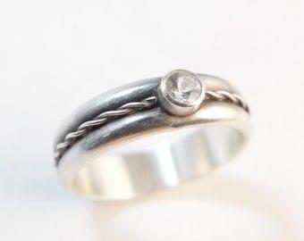 Single Twist Sterling Silver Engagement Ring, Womens Wedding Band, Diamond Engagement Ring, Moissanite, White Sapphire Engagement Ring