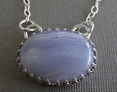 Blue Lace Agate and Sterling Silver Necklace - Gemstone Necklace