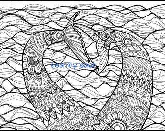 Mermaid Tails, Adult Coloring Page, Mermaid Art, Adult Coloring