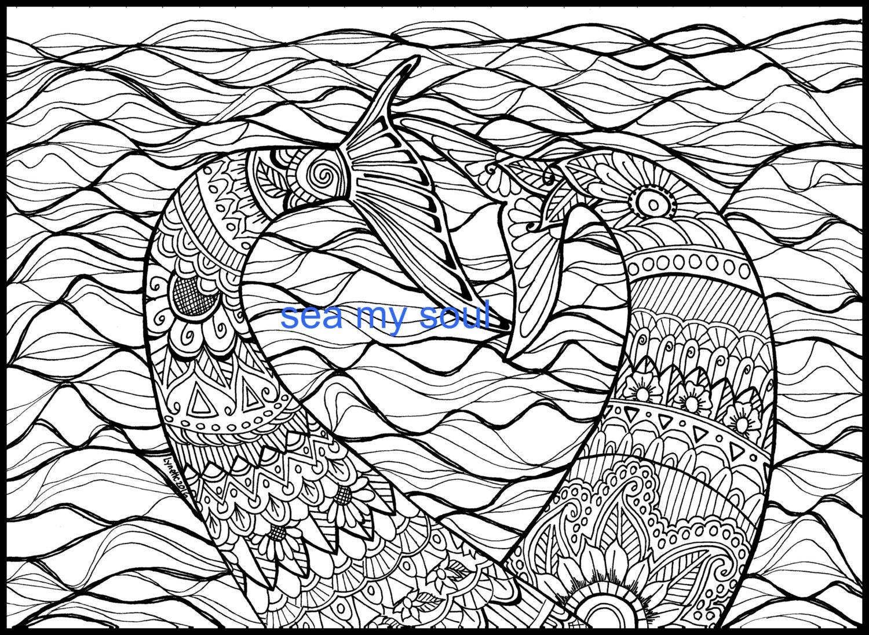 Mermaid tails adult coloring page mermaid art adult for Mermaid tail coloring pages