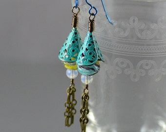Hand-painted Turquoise Patina Antiqued Brass Yellow Blue Black Swirl Crystal Opalite Glass Tassel Earrings