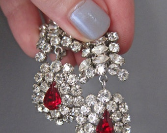 Vintage Austrian Crystal Faux Diamond and Ruby Clip On Dangle Earrings