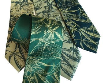 Marijuana Print Necktie. Cannabis Sativa Leaf Botanical Print Tie. 420 medical, caregiver men's tie.  Your choice of green tie colors & size